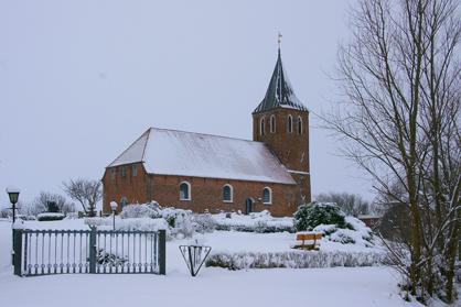 Kirche Westerhever Schnee